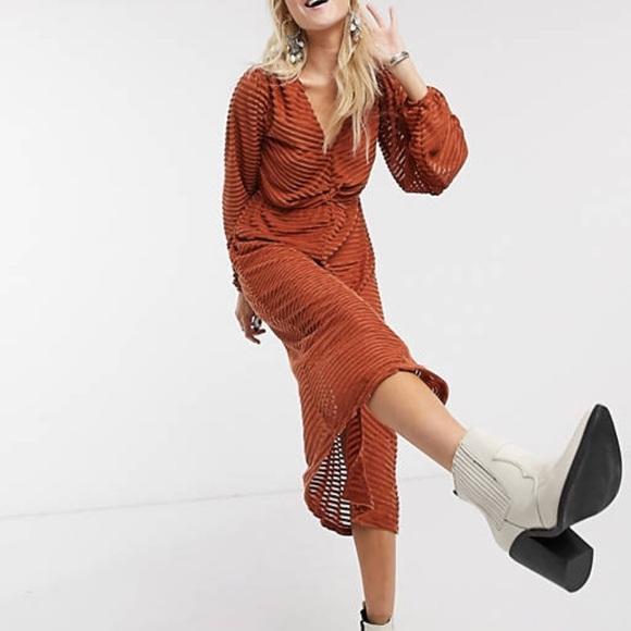 ASOS Burnout Stripe midi dress